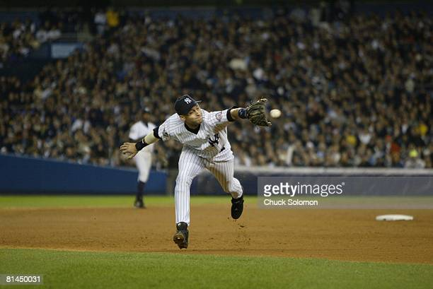 Baseball World Series New York Yankees Derek Jeter in action vs Florida Marlins Bronx NY