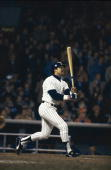 World Series New York Yankees Reggie Jackson in action at bat vs Los Angeles Dodgers Game 6 Bronx NY CREDIT Walter Iooss Jr