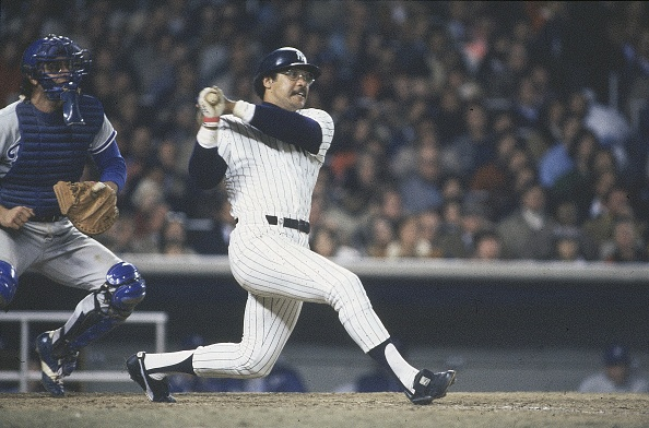 Baseball World Series New York Yankees Reggie Jackson in action hitting home run vs Los Angeles Dodgers Game 6 Bronx NY