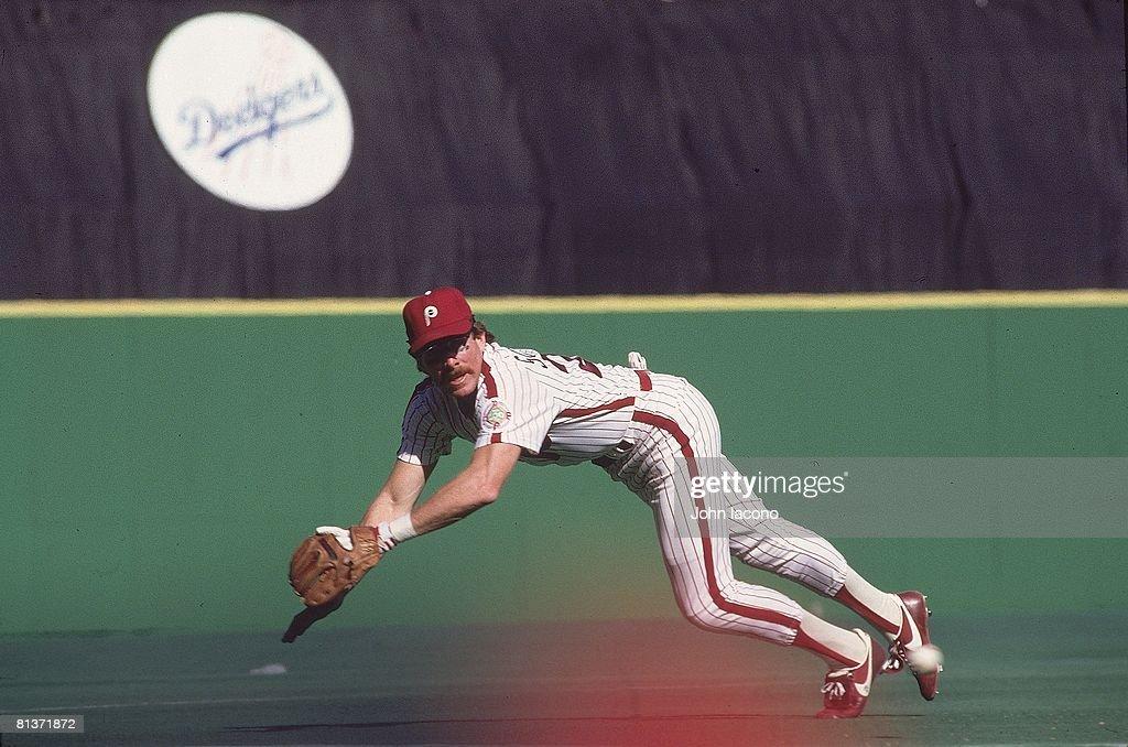 Baseball World Series Philadelphia Phillies Mike Schmidt in action diving and fielding catch vs Baltimore Orioles Game 4 Philadelphia PA