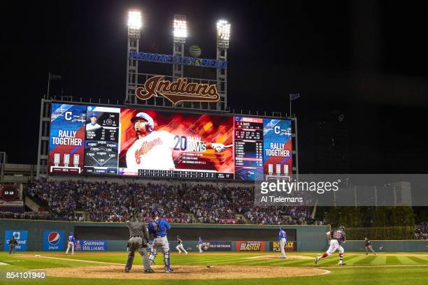 World Series Rear view of Cleveland Indians Rajai Davis in action running bases after hitting gametying home run in 8th inning vs Chicago Cubs at...