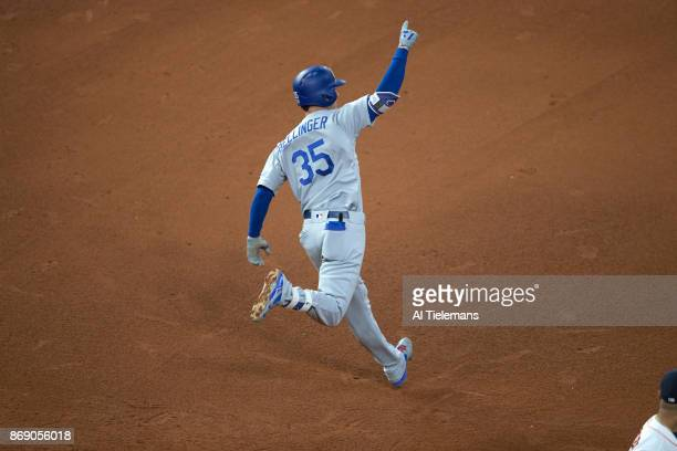 World Series Rear view of Los Angeles Dodgers Cody Bellinger victorious after hitting home run vs Houston Astros at Minute Maid Park Game 5 Houston...