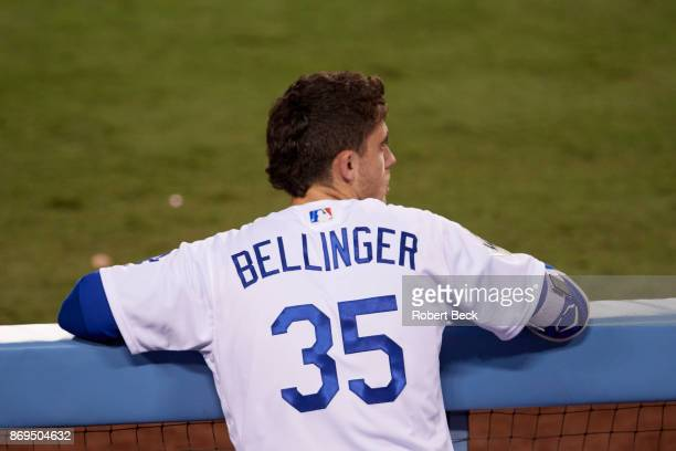 World Series Rear view of Los Angeles Dodgers Cody Bellinger in dugout during game vs Houston Astros at Dodger Stadium Game 7 Los Angeles CA CREDIT...