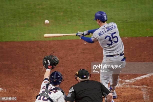 World Series Rear view of Los Angeles Dodgers Cody Bellinger in action at bat vs Houston Astros at Minute Maid Park Game 5 Houston TX CREDIT Greg...