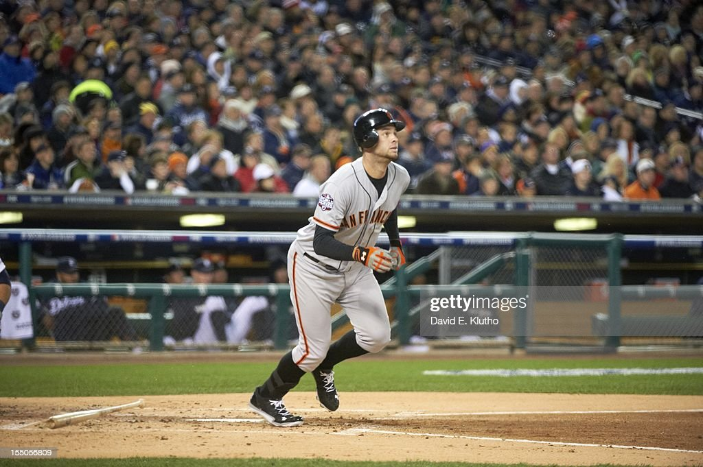 San Francisco Giants Brandon Belt (9) in action, at bat vs Detroit Tigers at Comerica Park. Game 4. David E. Klutho F33 )