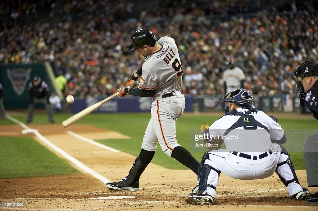 San Francisco Giants Brandon Belt (9) in action, at bat vs Detroit Tigers at Comerica Park. Game 4. Belt hits triple. John Biever F97 )