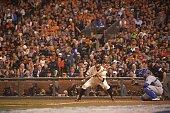 World Series San Francisco Giants Brandon Belt in action at bat bunting vs Kansas City Royals at ATT Park Game 3 San Francisco CA CREDIT Robert Beck
