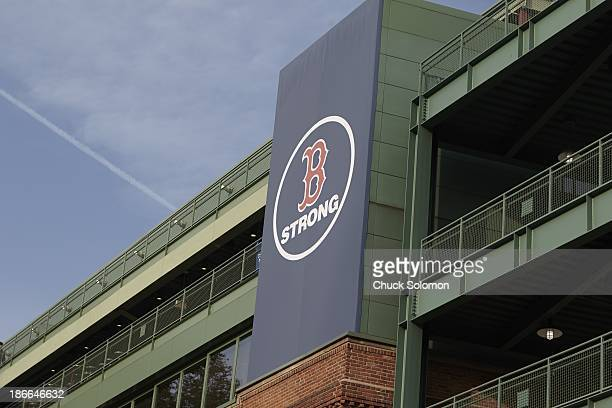 World Series Scenic view of B Strong banner on outside of Fenway Park before Boston Red Sox vs St Louis Cardinals game Game 6 Boston MA CREDIT Chuck...