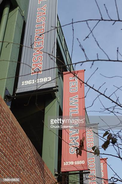 World Series Scenic view of former Boston Red Sox players names on banners outside of Fenway Park before Boston Red Sox vs St Louis Cardinals game...