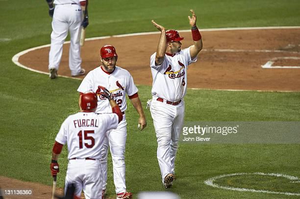 World Series St Louis Cardinals Albert Pujols clapping hands during Game 7 vs Texas Rangers at Busch Stadium St Louis MO CREDIT John Biever