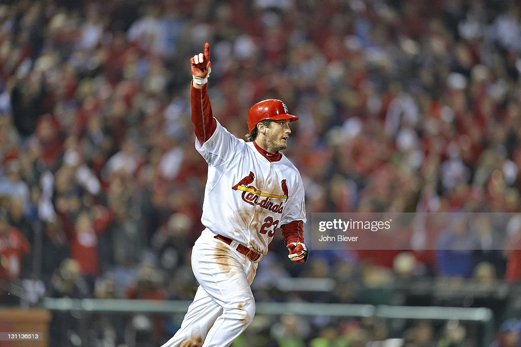 St. Louis Cardinals David Freese (23) victorious after hitting game winning, walk off home run vs Texas Rangers during 11th inning at Busch Stadium. Game 6. John Biever F27 )