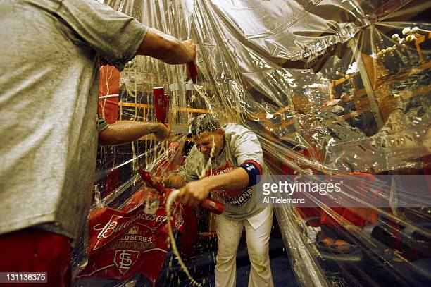 World Series St Louis Cardinals Yadier Molina victorious in locker room being sprayed with beer by teammates during celebration after winning Game 7...