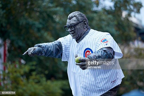 World Series Statue of former Chicago Cubs announcer Harry Caray with Cubs jersey outside Wrigley Field before game vs Cleveland Indians Game 4...