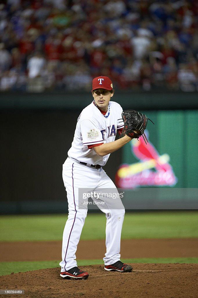 World Series Texas Rangers Derek Holland in action pitching vs St Louis Cardinals at Rangers Ballpark Game 4 Arlington TX CREDIT John Biever