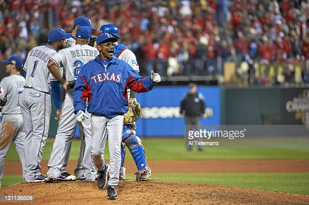 World Series Texas Rangers manager Ron Washington calling for pitcher from bullpen during Game 6 vs St Louis Cardinals at Busch Stadium St Louis MO...