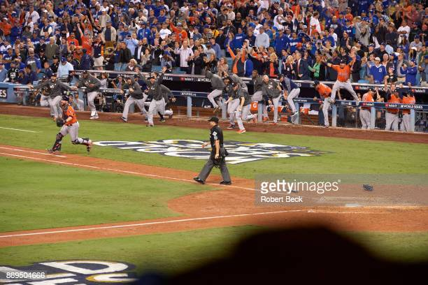 World Series View of Houston Astros victorious coming out of dugout after winning game and series vs Los Angeles Dodgers at Dodger Stadium Game 7 Los...