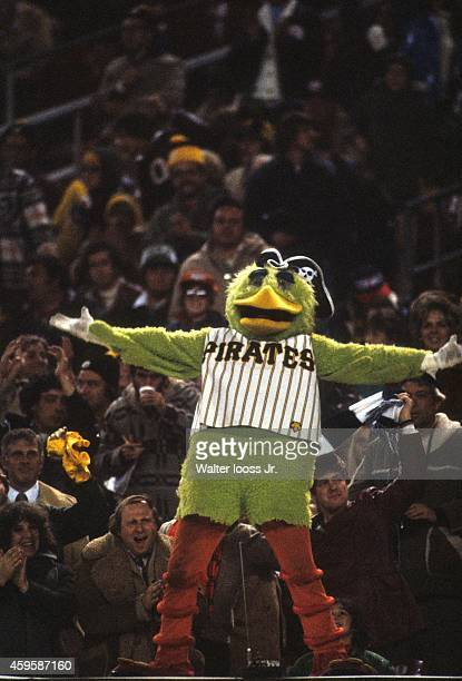 World Series View of Kevin Koch as Pittsburgh Pirates mascot Pirate Parrot on top of dugout during Game 3 vs Baltimore Orioles at Three Rivers...