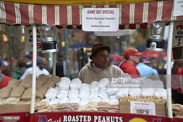 World Series View of vendor selling peanuts outside of stadium before Game 1 between Boston Red Sox and St Louis Cardinals at Fenway Park Boston MA...