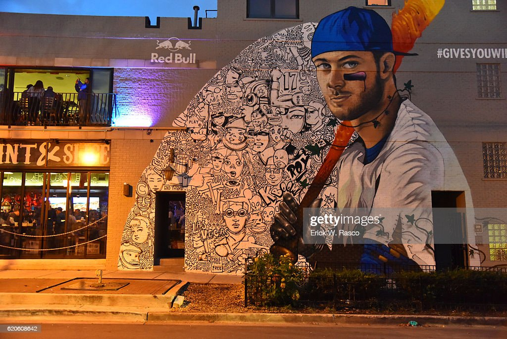 View Of Mural Of Chicago Cubs Kris Bryant On Wall Before Game 5 Vs  Cleveland Indians Part 97