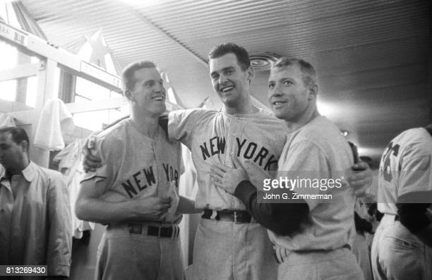 World Series New York Yankees Tony Kubek Don Larsen and Mickey Mantle victorious in the locker room after winning game vs Milwaukee Braves at County...