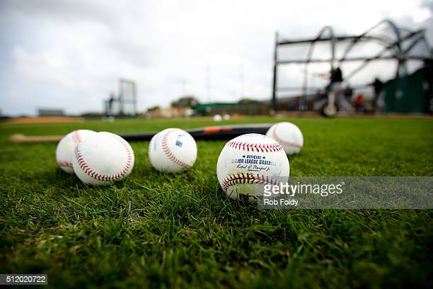 Baseballs and a bat sit on the field during a Miami Marlins workout on February 23 2016 in Jupiter Florida