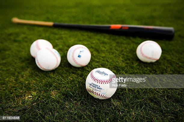 Baseballs and a bat sit on the field of the Miami Marlins during a team workout on February 23 2016 in Jupiter Florida