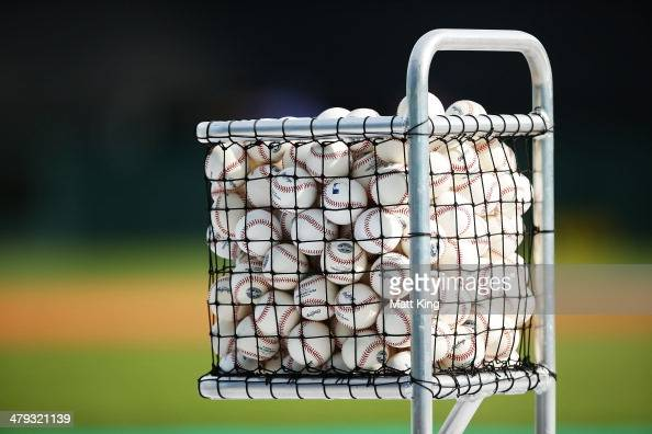 Baseballs are seen during a LA Dodgers MLB training session at Sydney Cricket Ground on March 18 2014 in Sydney Australia