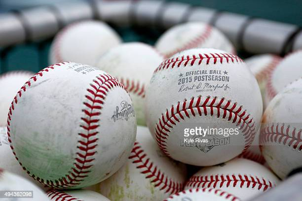 Baseballs are seen during a workout the day before Game 1 of the 2015 World Series between the Royals and Mets at Kauffman Stadium on October 26 2015...