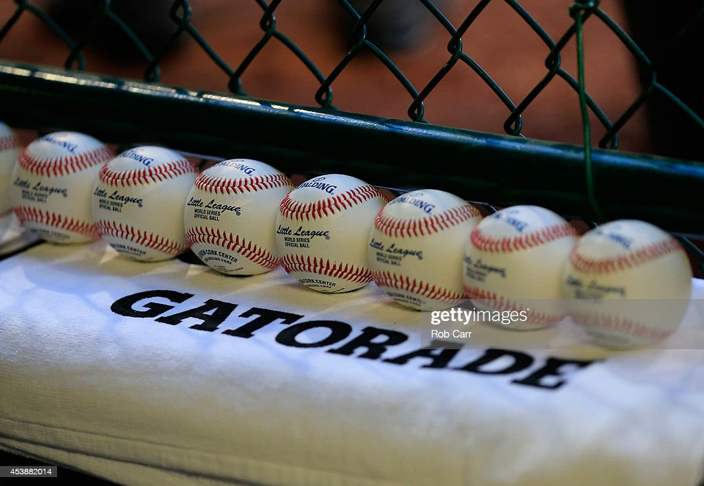 Baseballs sit in the dugout before the start of the United States division game at the Little League World Series tournament at Lamade Stadium on August 20, 2014 in South Williamsport, Pennsylvania.