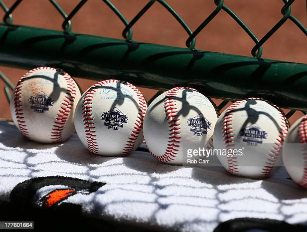 Baseballs sit on a ledge during the International Championship game of the Little League World Series between the Tokyo Japan team and the Tijuana...