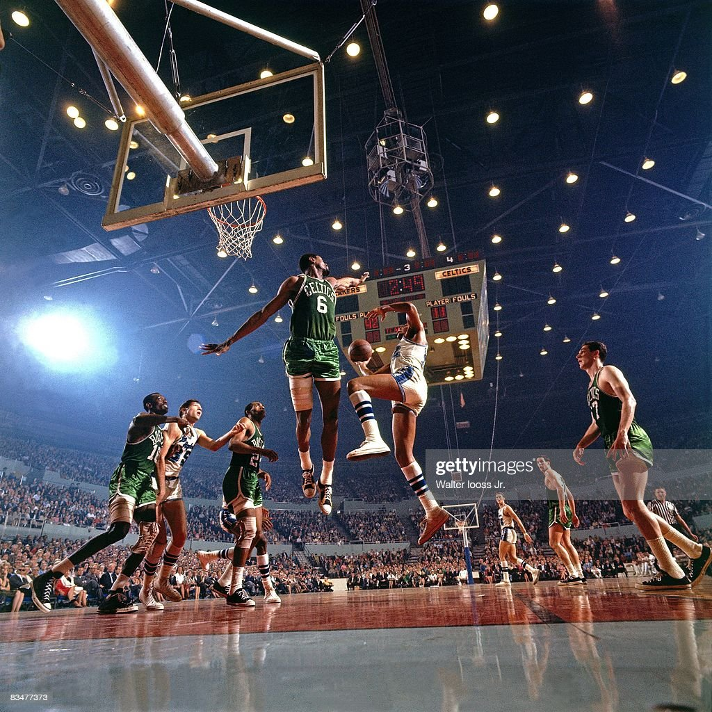 NBA Finals Boston Celtics Bill Russell in action defense vs Los Angeles Lakers Elgin Baylor Game 3 or Game 4 Los Angeles CA 4/20/19664/22/1966 CREDIT...