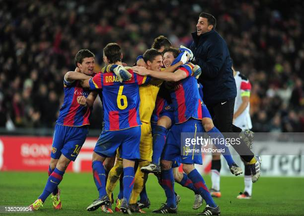 Basel 1893 celebrate victroy during the UEFA Champions League Group C match between FC Basel 1893 and Manchester United at St JakobPark on December 7...