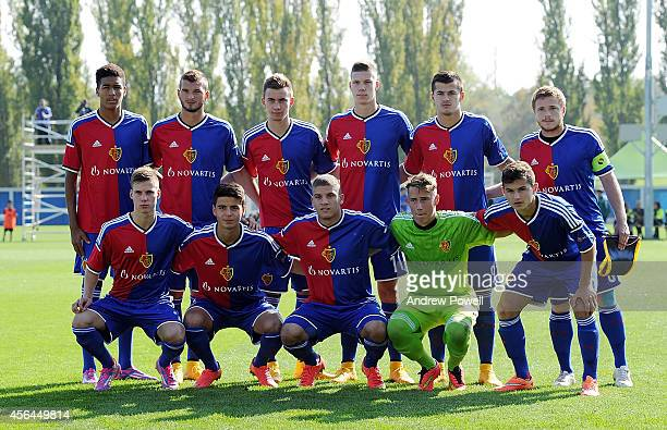 FC Basel 1893 starting lineup before the UEFA Youth League match between FC Basel 1893 Under 19s and Liverpool FC Under 19s at St JakobPark Training...