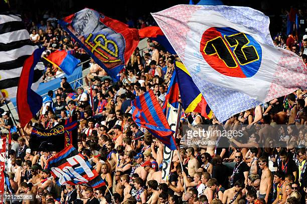 Basel 1893 supporters at the St JakobPark stadium home of FC Basel 1893 during the Swiss Axpo Super League match between FC Basel 1893 and FC Zurich...