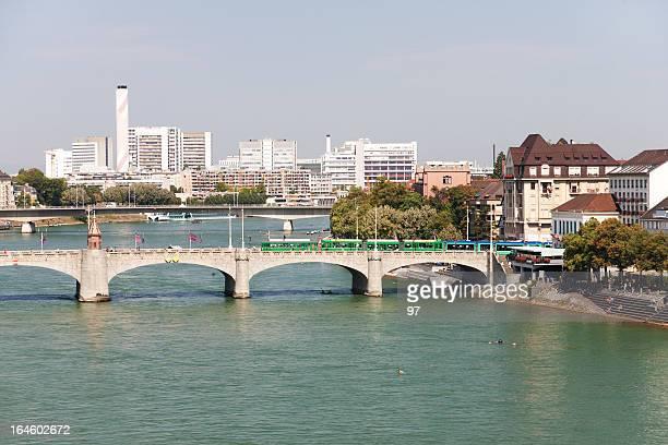 Basel und Rhein, Schweiz.