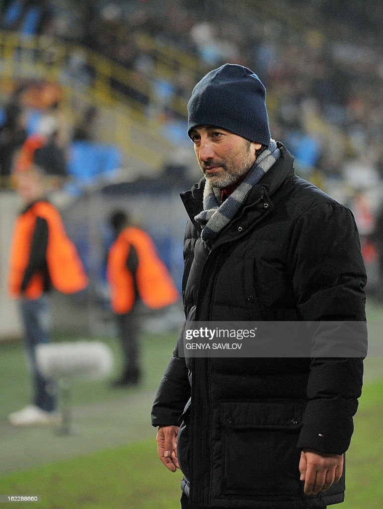 Basel coach Murat Yakin reacts during the UEFA Europa League, Round 32, football match against Dnipro FC in Dnipropetrovsk on February 21, 2013. AFP PHOTO/ GENYA SAVILOV