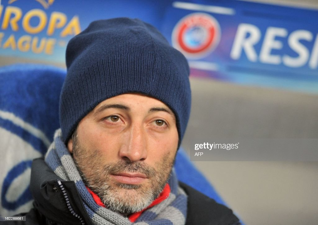 Basel coach Murat Yakin reacts during the UEFA Europa League, Round 32, football match against FC Dnipro in Dnipropetrovsk on February 21, 2013. AFP PHOTO/ GENYA SAVILOV