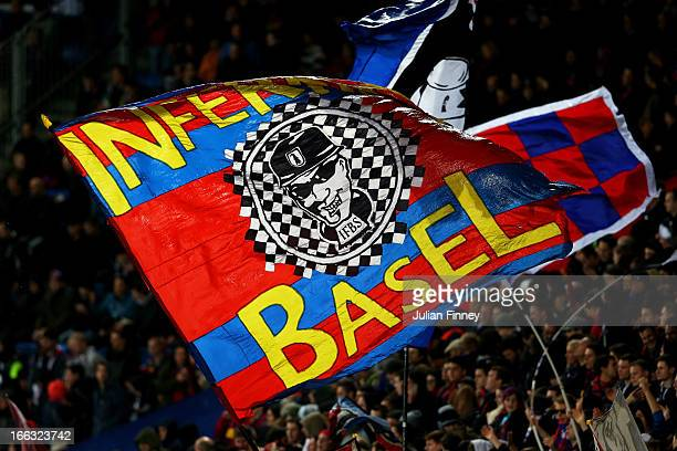 Basel fans cheer on their team during UEFA Europa League quarter final second leg match between FC Basel 1893 and Tottenham Hotspur at Stadion St...