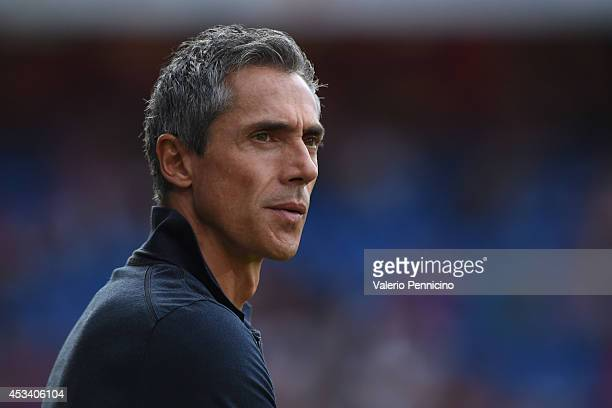 Basel head coach Paulo Sousa looks on during the Raiffeisen Super League match between FC Basel and FC Zurich at St JakobPark on August 9 2014 in...