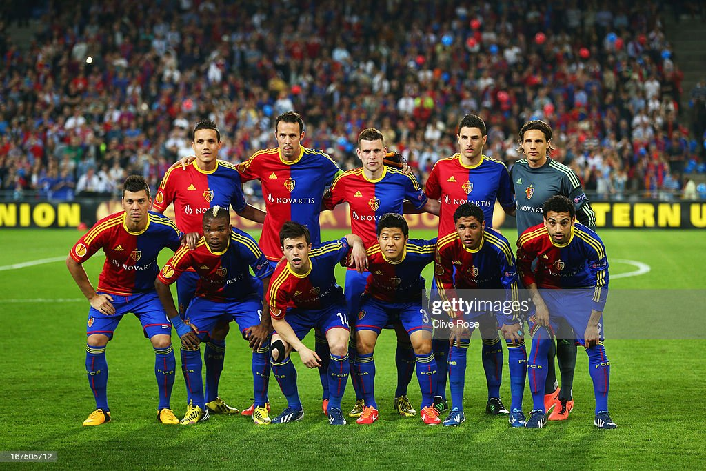 FC Basel line up for a team photograph before the UEFA Europa League Semi Final First Leg match between FC Basel 1893 and Chelsea at St. Jakob Stadium on April 25, 2013 in Basel, Switzerland.