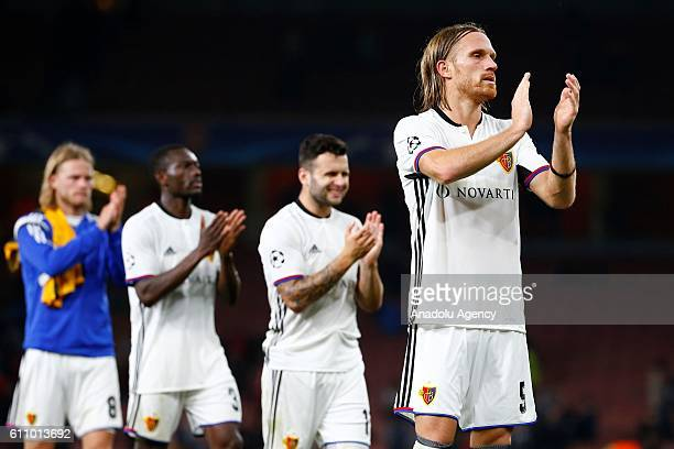 Basel players greet their fans after Champions League Group A match between Arsenal FC and FC Basel at Emirates Stadium on September 28 2016 in...