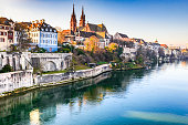 Basel, Switzerland. Rhine River and Munster Cathedral, Swiss Confederation medieval city.