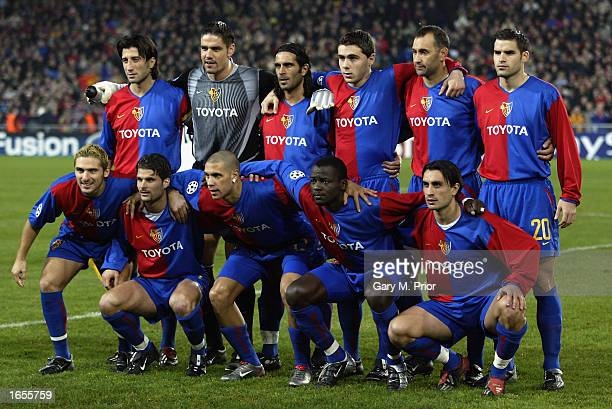 Basel team group before the UEFA Champions League First Phase Group B match between FC Basel and Liverpool held on November 12 2002 at St Jakob Park...