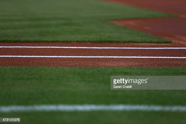 A baseline is seen before a game between the Kansas City Royals and the Texas Rangers at Globe Life Park in Arlington on May 11 2015 in Arlington...