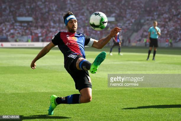 FC Basel's Argentinian midfielder Matías Delgado controls the ball during the Swiss football cup final between FC Basel and FC Sion on May 25 2017 at...