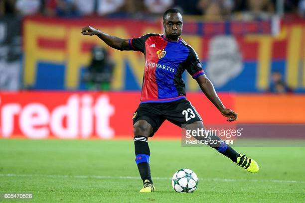 Basel's Colombian defender Eder Balanta passes the ball during the UEFA Champions League group A football match beetween FC Basel 1893 and PFC...