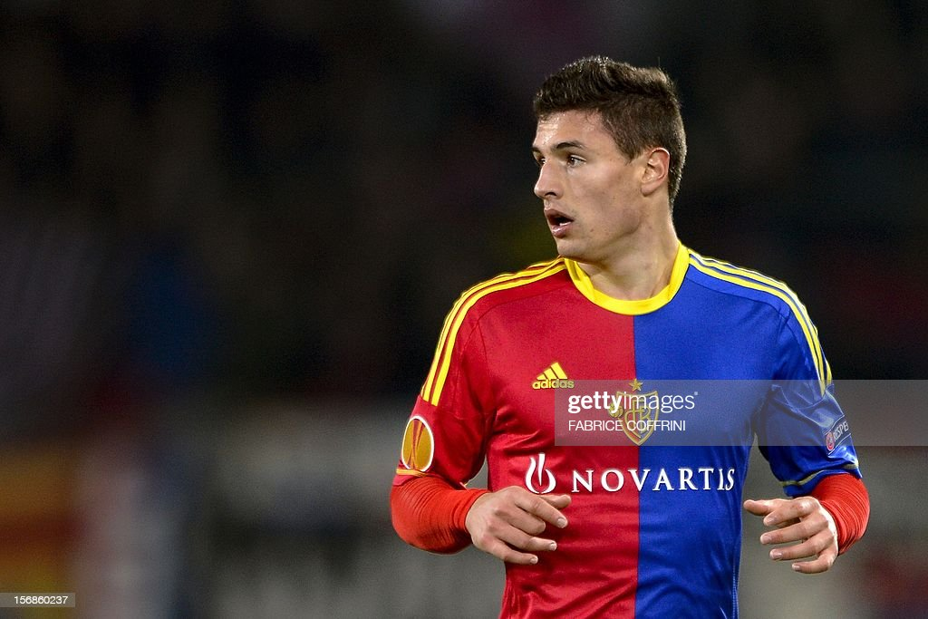 FC Basel's defender Fabian Schaer looks on prior to the Europa League UEFA Group G football match between FC Basel and Sporting Clube de Portugal on November 22, 2012, in Basel.