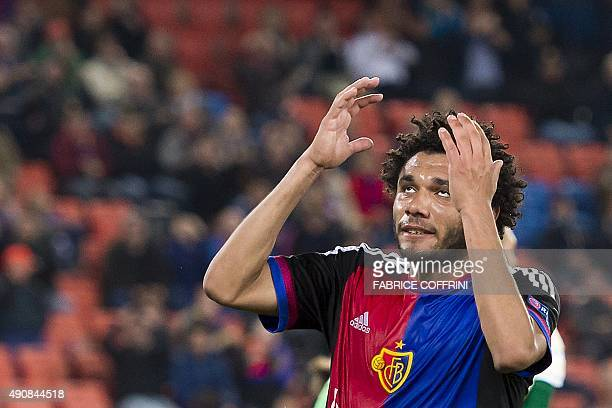 Basel's Egyptian midfielder Mohamed Elneny reacts after missing a goal opportunity during the UEFA Europa League football match between FC Basel and...