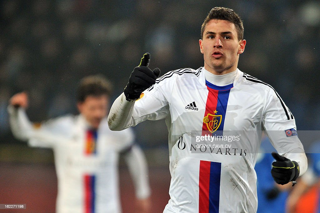 Basel's Fabian Schar celebrates after scoring a goal against Dnipro during an UEFA Europa League round of 32 football match in Dnipropetrovsk on February 21, 2013.
