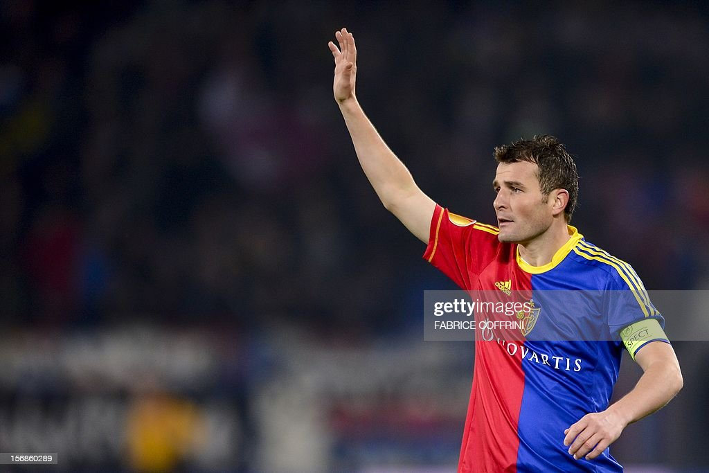 FC Basel's forward Alexander Frei gestures during his Europa League UEFA Group G football match between FC Basel and Sporting Clube de Portugal on November 22, 2012, in Basel. AFP PHOTO / FABRICE COFFRINI